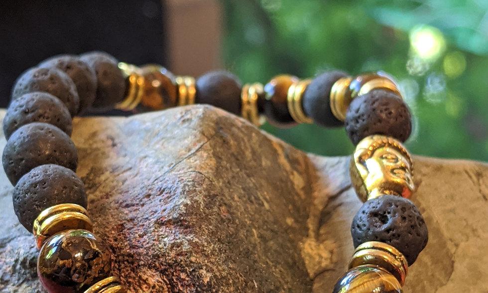 Tigers Eye & Lava Stone  bracelet