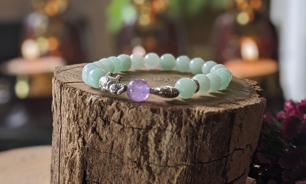 Amazonite  & Amethyst Crystal Bracelet