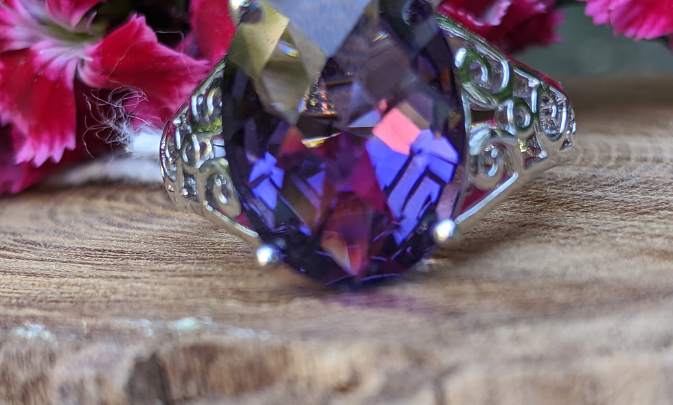 Handcrafted Amethyst & Silver Ring