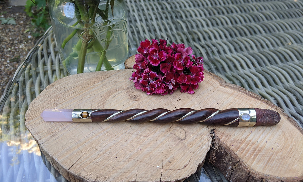 Handcrafted Twisted Wand with Rose Quartz ,Moonstone,Tigers Eye.& German Silve