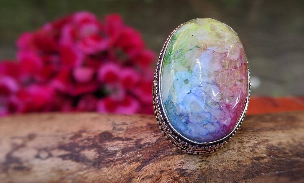 Handcrafted Rainbow Quartz Ring