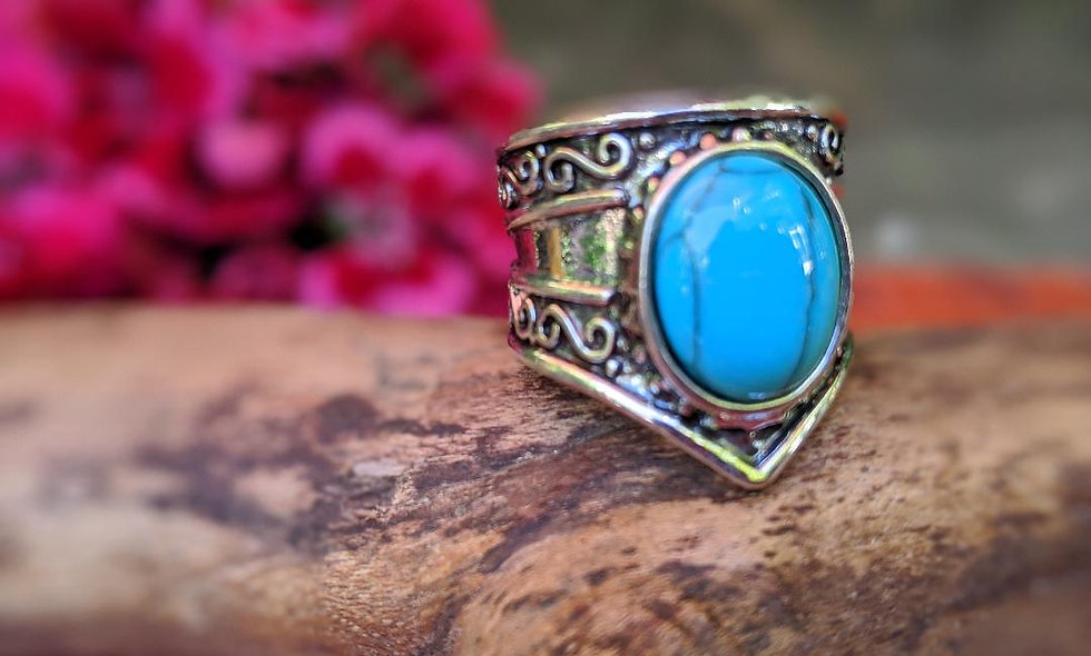 Handcrafted Turquoise & Silver Ring