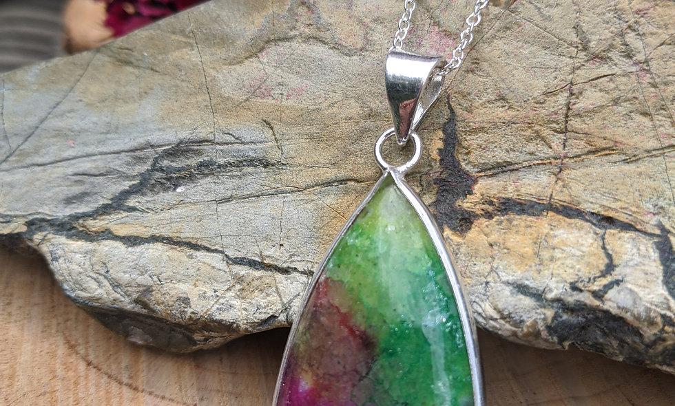 Rainbow Solar Quartz & Silver  Pendant