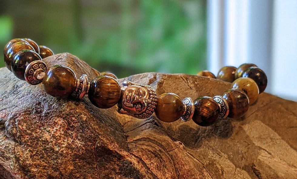 Handcrafted Tigers eye and Bhudda Bracelet