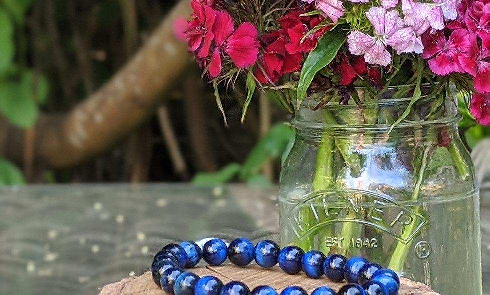 Blu Tigers Eye Crystal Bracelet