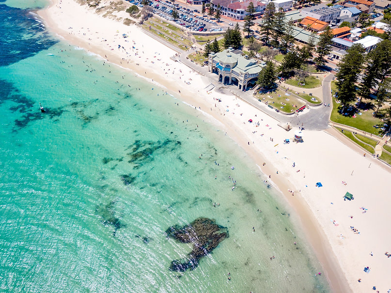 Aerial photograph over a busy Cottesloe