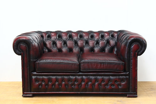 Oxblood Leather 2 Seater Chesterfield Sofa