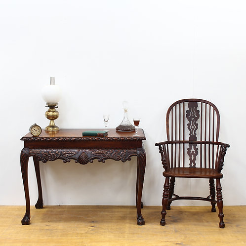 Victorian Mahogany Carved Side Table with Ball & Claw Feet