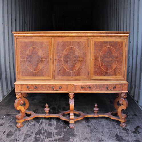 Carved Inlaid Burr Walnut Cabinet