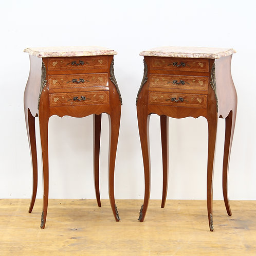 A Pair of French 1930's Inlaid Bedside Tables