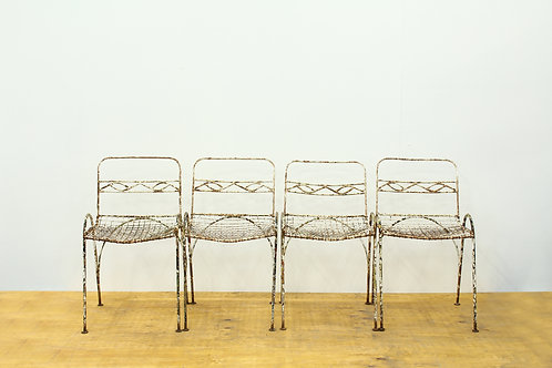 A Set of 4 19th Century Metal Garden Chairs