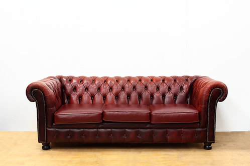 Red Leather 3 Seater Chesterfield Sofa