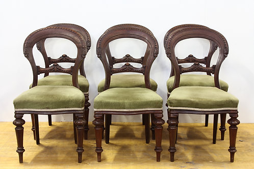 Set of 6 Victorian Carved Walnut Dining Chairs Circa 1840