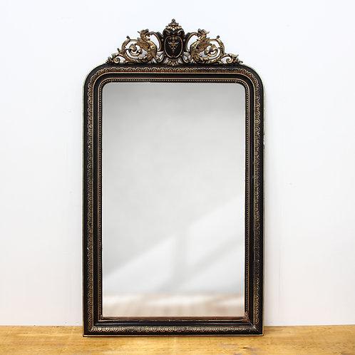 Victorian Black & Gold Painted Stucco Rococo Mirror