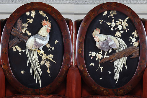 A Pair Of 19th Century Japanese Mother Of Pearl Wall Plaques With Lacquered Fram