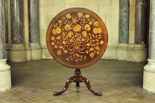 Dutch Marquetry Inlaid Mahogany Tilt Top Table