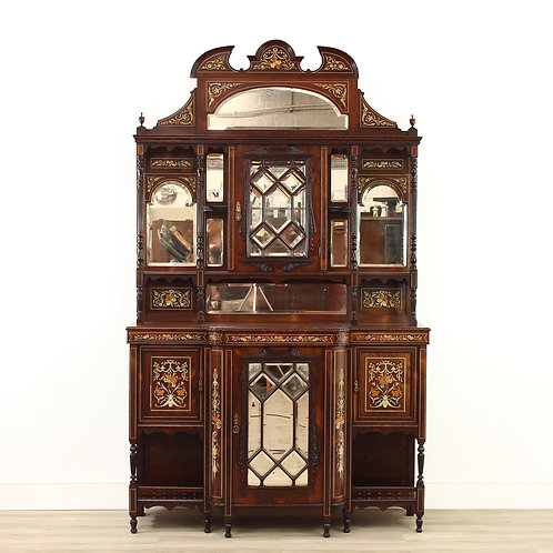 Edwardian Rosewood & Marquetry Tall Mirror Back Sideboard