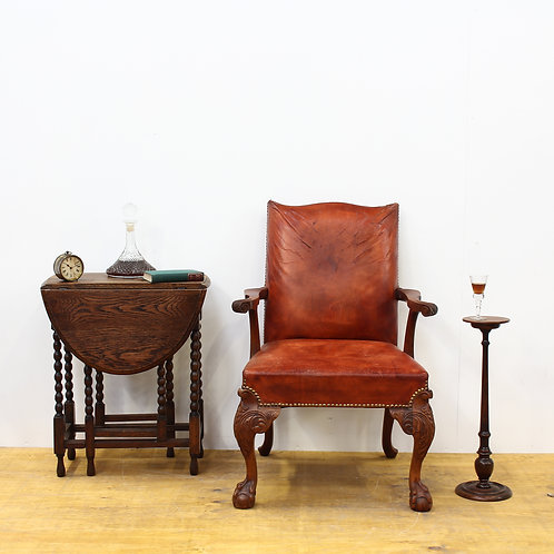 Victorian Leather & Carved Walnut Desk Chair