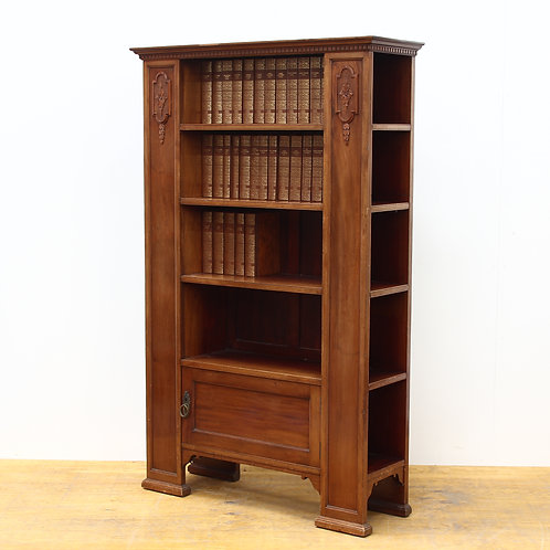 Edwardian Walnut Bookcase with 32 leather bound Charles Dickins Books