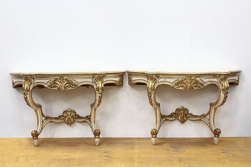 2 Regency Era Rococo Gilt Console Tables with Marble Tops