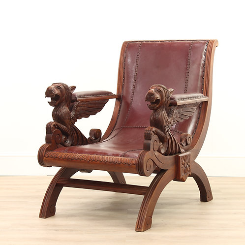 Carved Leather Chair