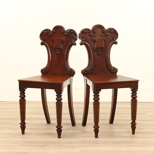 A Pair of 2 Georgian Mahogany Hall Chairs