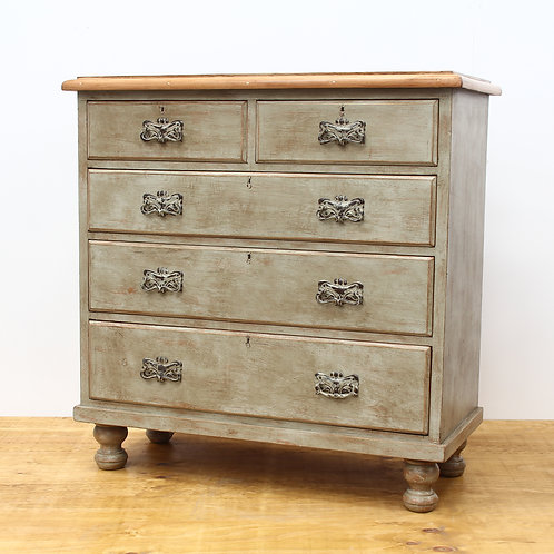 PAINTED & AGED VICTORIAN CHEST OF DRAWERS