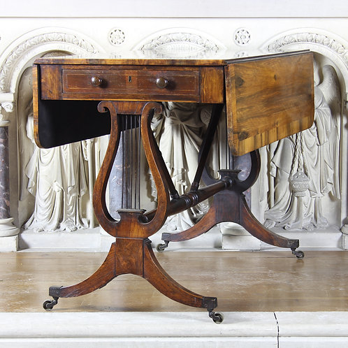 Georgian Lyre Ended Drop Leaf Table
