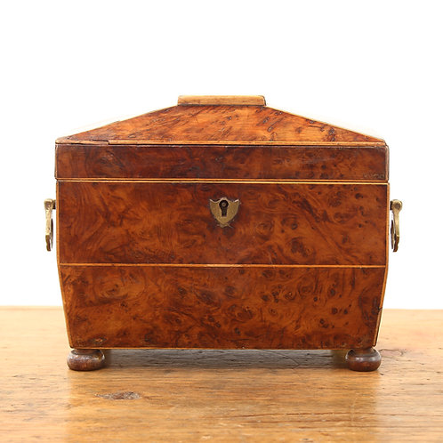 Georgian Burr Walnut Sarcophagus Tea Caddy