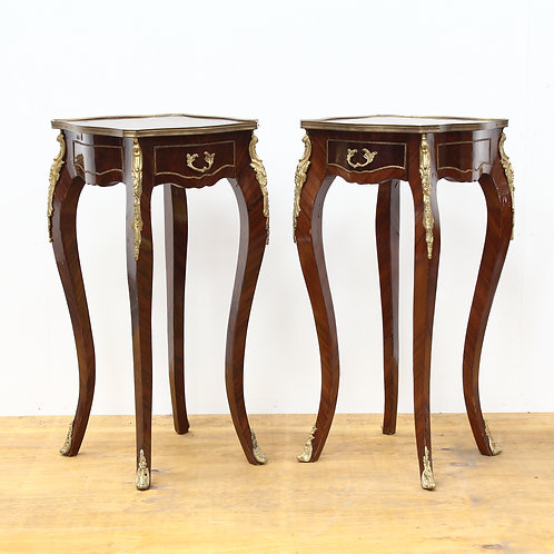 A Pair of French Inlaid Bedside/Lamp Tables