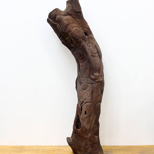 Tall Carved Elephant Tree Trunk