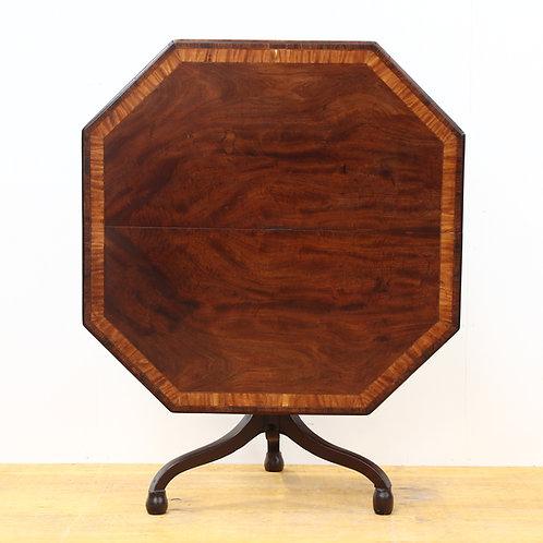 Georgian Mahogany & Satinwood Octagon Snap Top Table