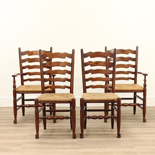 A Set of Four Elm Ladderback Chairs