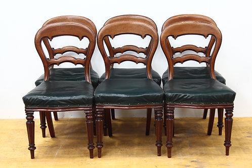 6 Victorian Walnut Balloon Chairs