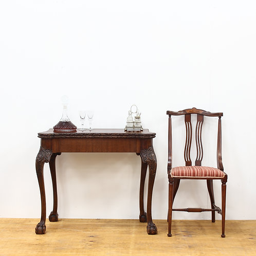 George V Carved Card Table with Ball & Claw Feet