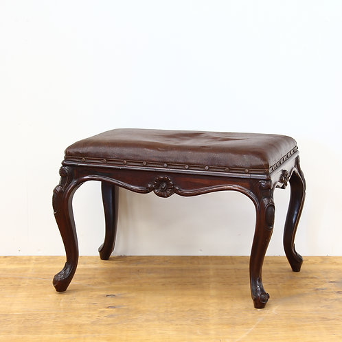 Victorian Carved Mahogany Leather Upholstered Stool