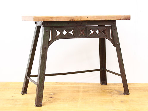 Cast Iron Industrial Table with Reclaimed Pine Top