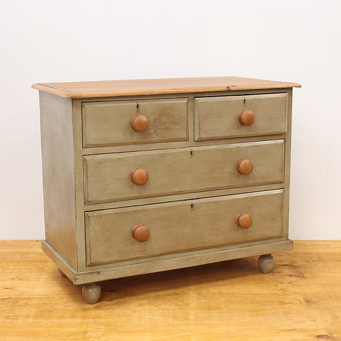 Painted & Aged Victorian Pine Chest of Drawers