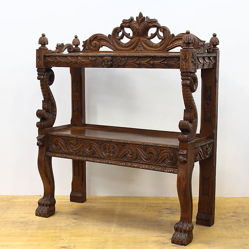 Victorian Carved Oak Buffet Shelves