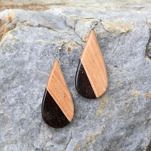Teardrop Earrings, 2 tone
