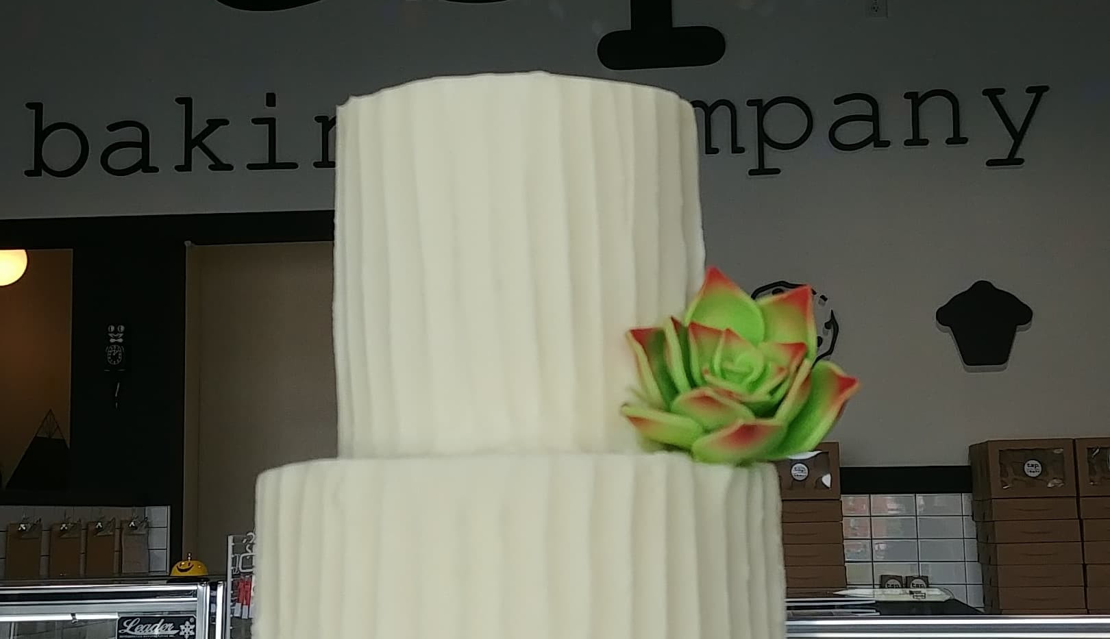 small 2tier vertical rustic with succulent