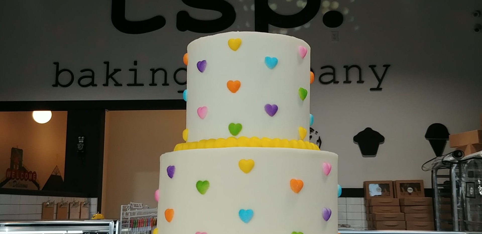 small 2tier pastel hearts cake