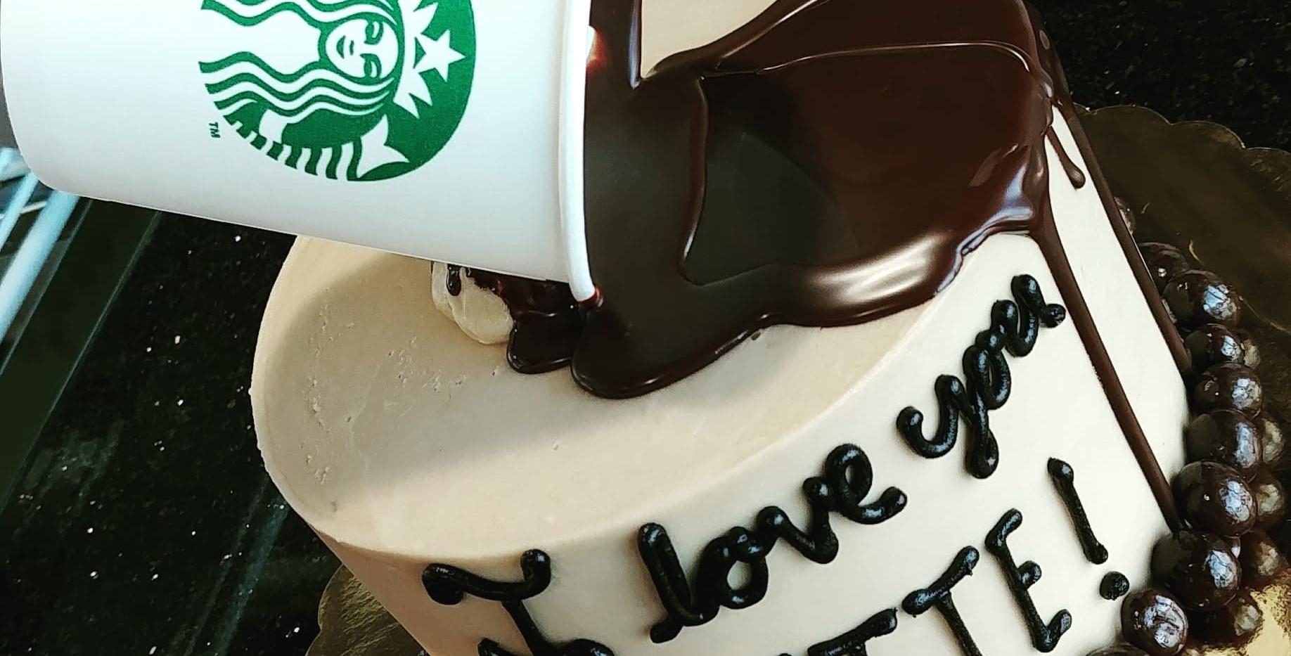 "6"" spilling STARBUCKS cup cake"