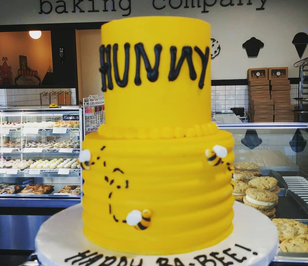 small 2-tier HUNNY bee cake