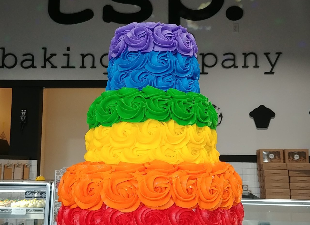 3 tier rainbow stripe rosette