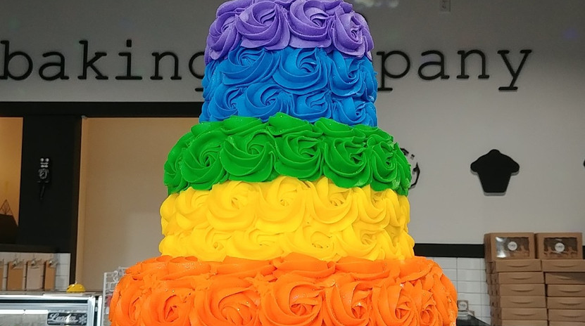 3 tier rainbow stripe rosette