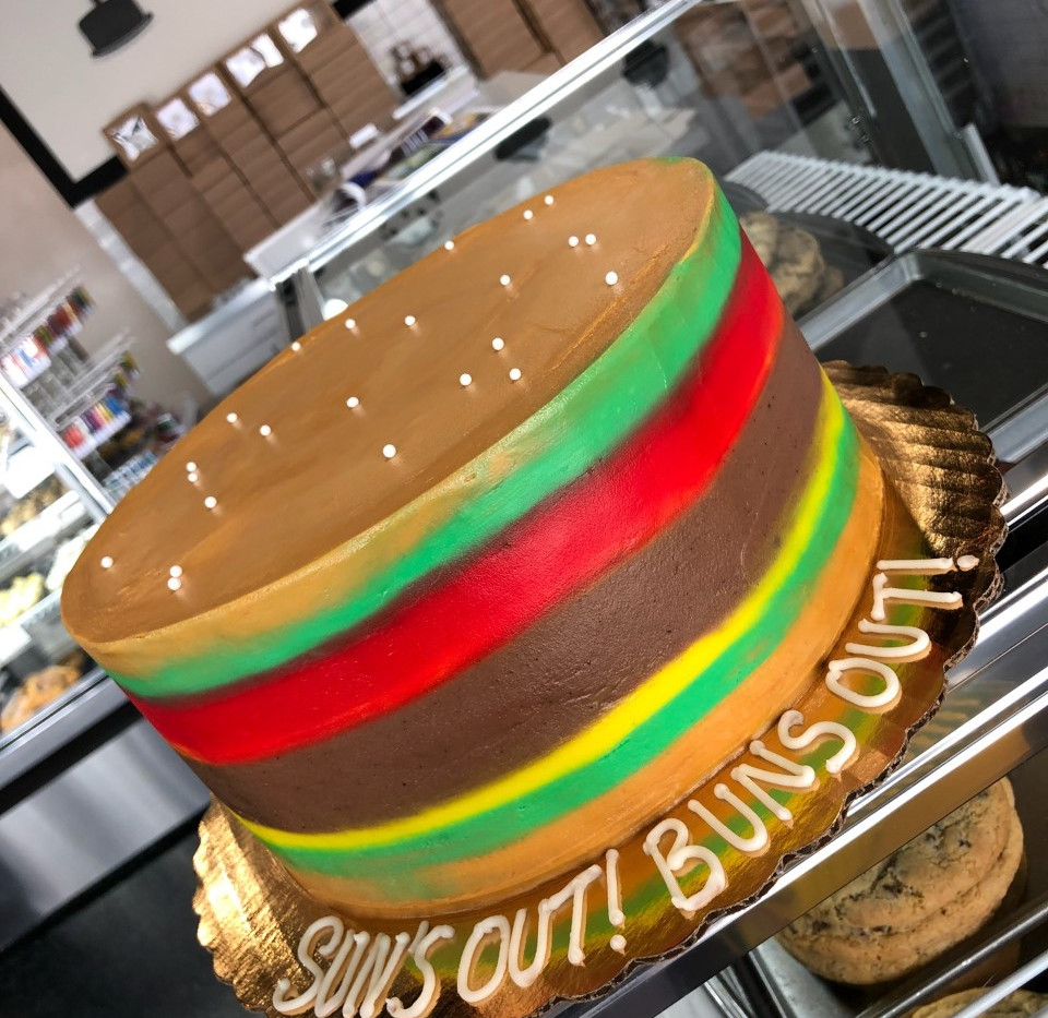 "9"" buttercream burger cake"
