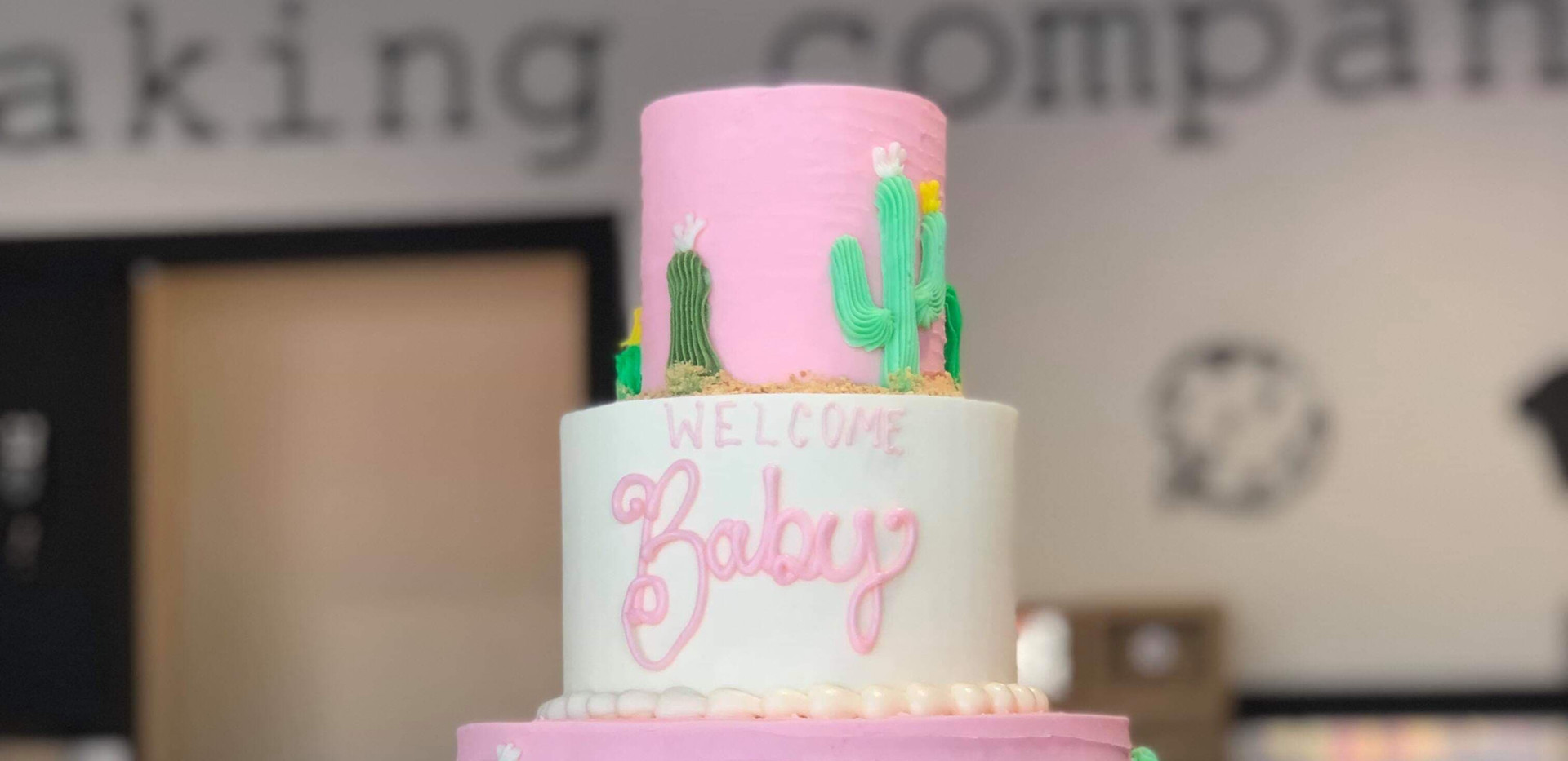 3tier cacti BABY cake in pink