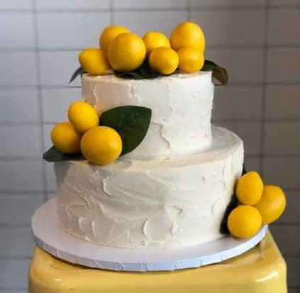 large 2tier white rustic with lemons cake