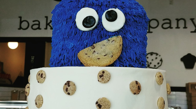 large 2 tier COOKIE MONSTER inspired cake